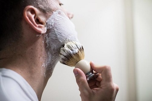 Man Using Shaving Brush