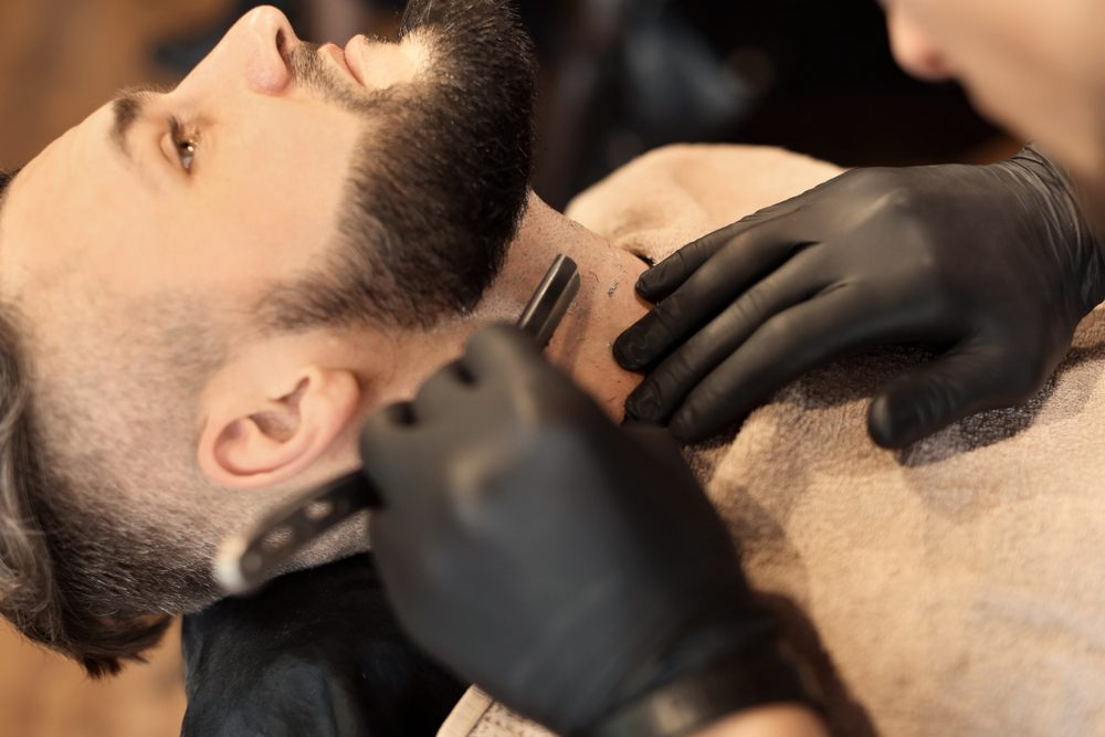 Man Getting Straight Shave