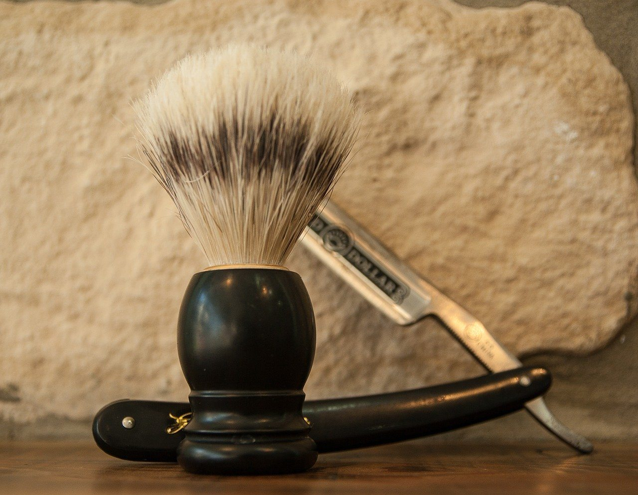shaving brush and a straight razor