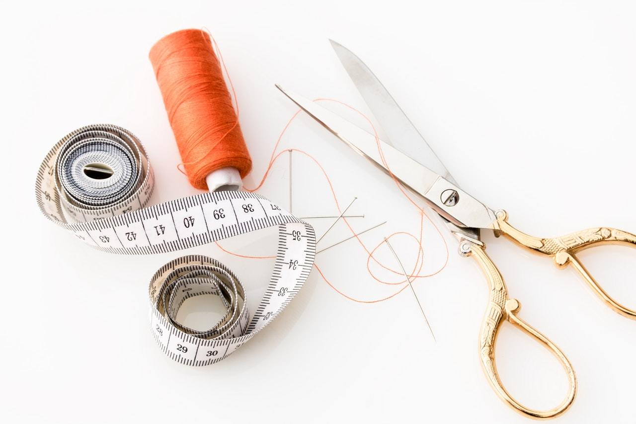 equinox shears next to a sewing thread